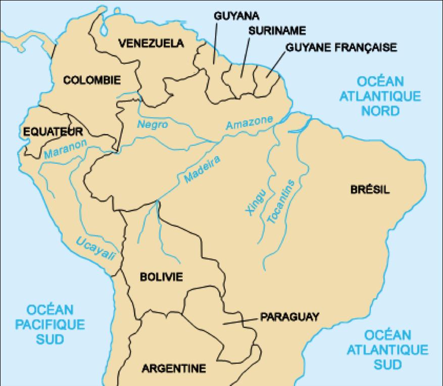 Carte Amerique Latine Avec Fleuves.Reviser Les Grands Fleuves 1 Amazone Chang Jiang Histoire