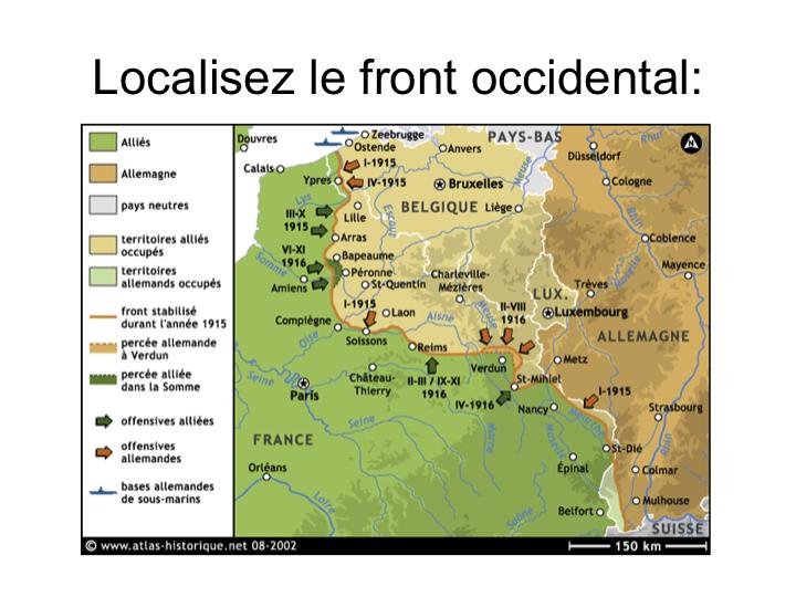 La Première Guerre mondiale : carte en couleurs de la fiche d'activités (le front occidental pendant la guerre de position) dans 3e diapositive141